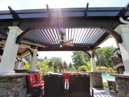 4 column white and brown poolside pergola